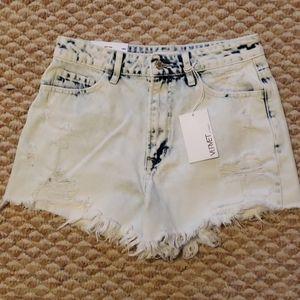 Light Wash, Distressed Denim Shorts